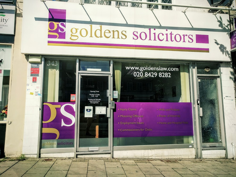 Goldens Solicitors Specialists Wills & Probate, Power Of Attorney, Employment, Settlement Agreements, Property Sales & Transfers Covering All London Areas.